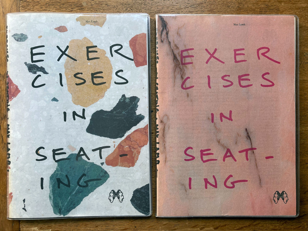 Editions of Exercises in Seating by Max Lamb, edited by Abake, Gemma Holt, Max Lamb, Sarah Simpkin. Published by Dent-de-Leone. 2017 edition features engineered marble 'marmoreal' cover, 2015 edition has a pink marble cover.